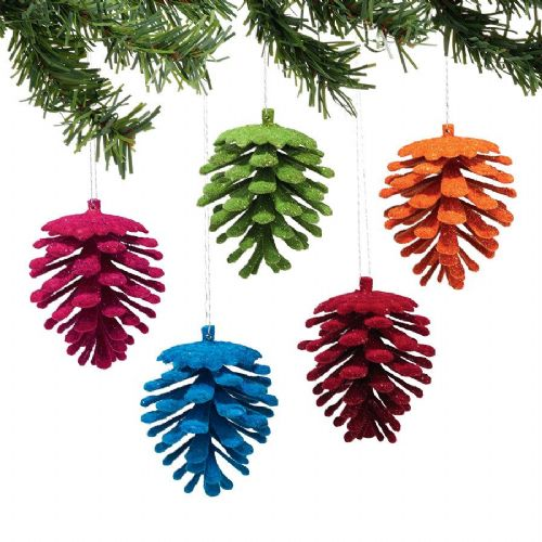Flocked Pinecone Ornaments Set of 5